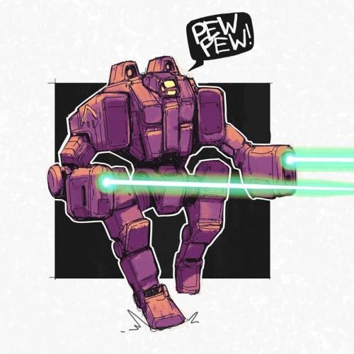 Baddass robot with frigin lasers pew pew