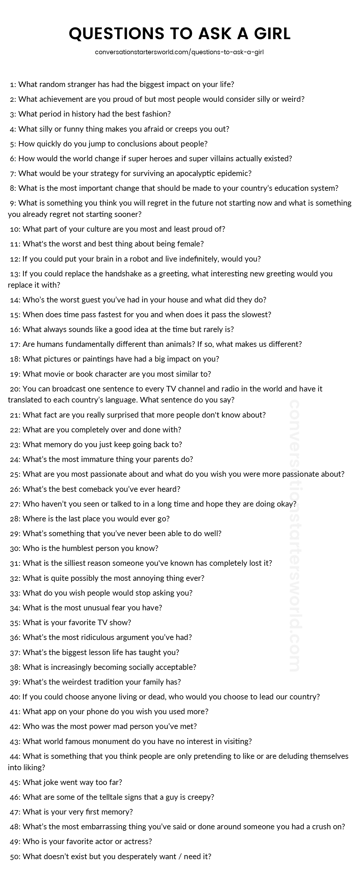 Questions To Ask A Girl To Keep A Conversation Going