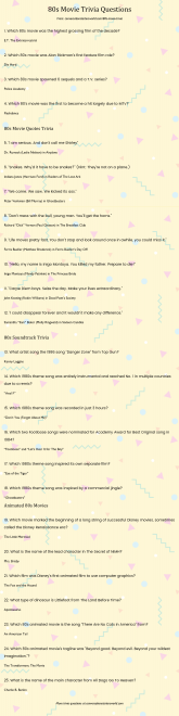 image about Winter Trivia Questions and Answers Printable titled 80s Video Trivia Inquiries - Get hold of well prepared for a wave of nostalgia!