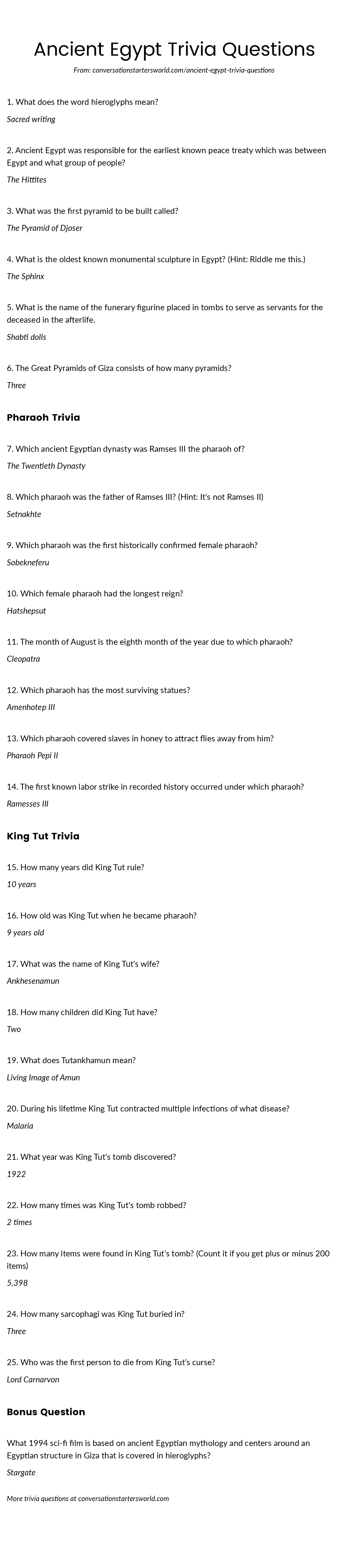 Ancient Egypt Trivia Questions and Answers - Can you answer