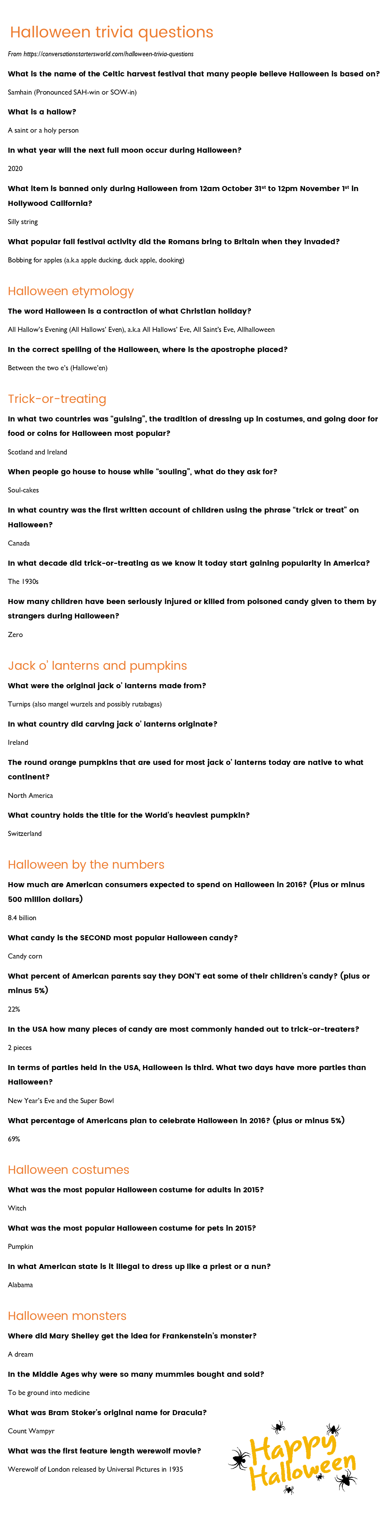 photo relating to Autumn Trivia for Seniors Printable called 29 Physically demanding Halloween Trivia Inquiries - How a lot of can by yourself