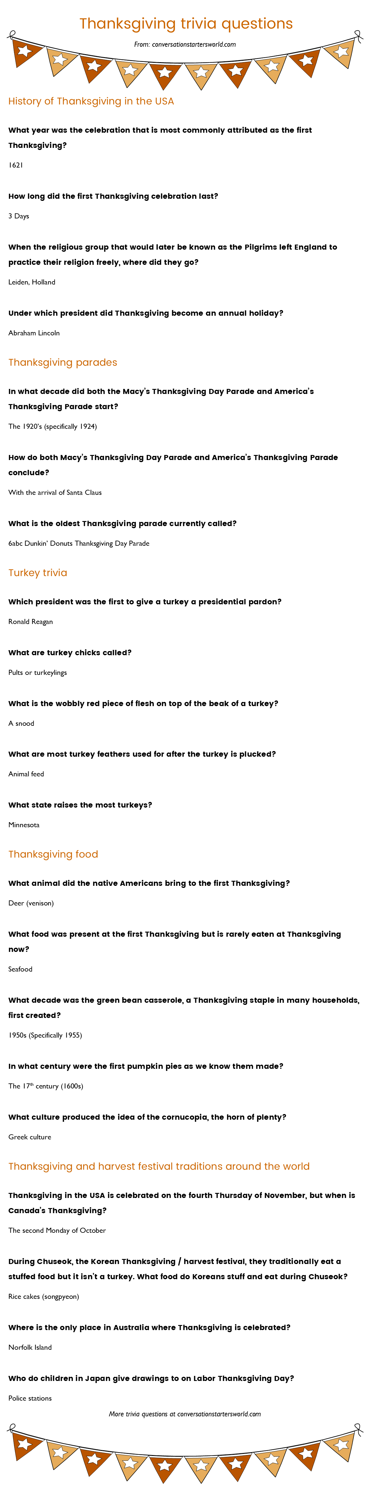 21 Thanksgiving trivia questions most people don't know the
